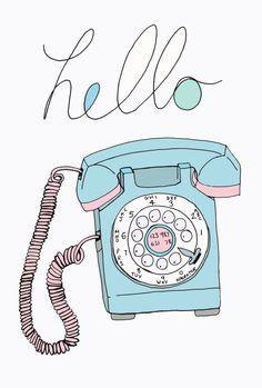 Retro Telephone Art Print A4 by RebekahLeighArtist on Etsy