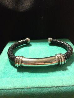 Sterling Leather Bracelet Black Braided Silver Handmade 925 Handcrafted Stamped Signed Boho Southwestern Mod Women Men Modern Gift Jewelry on Etsy, $33.00