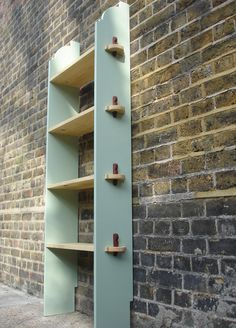 Handmade bookshelves..something like this on the ends to hang jewelry - Google Search