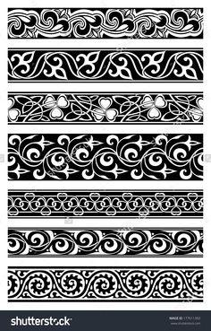 stock-vector-set-of-seven-seamless-floral-borders-177611393.jpg (1023×1600)