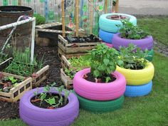 Gardening with old tyres