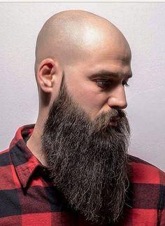 Growing a beard ! Bald Men With Beards, Bald With Beard, Grey Beards, Long Beards, Big Beard Styles, Barba Grande, Shaved Head With Beard, Thick Beard, Beard Haircut