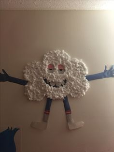 For my daughters 4th birthday, one of our DIY decorations! We love cloud and a HUGE hit at her trolls themed birthday party!! *TIP* don't use Elmer's glue when putting on his sock!! Lol