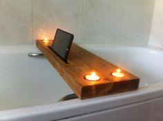 wooden bath tray bath rack with tealight by JustOriginalsIn