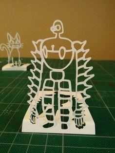 "Laputa robot - Mark 2 by Tomasz Stasiuk Much more stable than Mark 1: Only ~3.5"" x 2.5"".  #paper #paperart #papersculpture #papercutting #ghibli #miyazaki #anime"