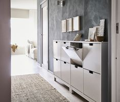 STÄLL Shoe cabinet with 4 compartments - white - IKEA - Home decor - Einrichtung Ikea Shoe Cabinet, Ikea Shoe Storage, Shoe Cabinets, Mudroom Cabinets, Hallway Cabinet, Paint Storage, Storage Racks, Hallway Storage, Small Storage
