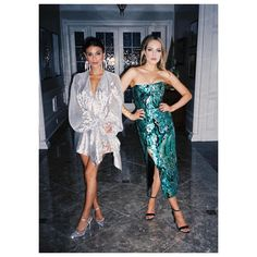Cristal Flores in a Roland Mouret dress, Rene Caovilla heels and Lulu Frost earrings and Fallon Carrington in a Halpern dress on Dynasty 1x18