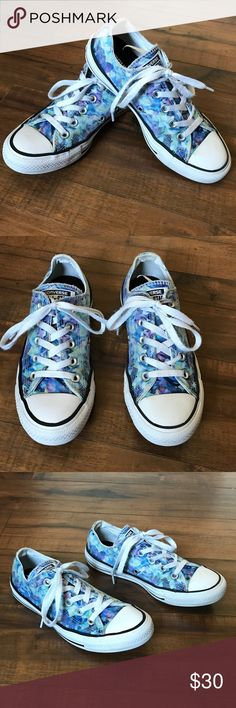 Stained glass Converse All Star low top sneakers Converse All Stars •Fabric is blue/ purple stained glass print •Ultra-white rubber •Fabric is slightly faded from washing, but as seen in the pics is still vibrant  •Slight fading on the back logos (see pic) •Great condition! •Women's size 6  More Converse in my closet, always adding more ⚜️ Same/next day ship ⚜️  Smoke-free   I do not discuss price in the comments, use the offer button please Converse Shoes Sneakers
