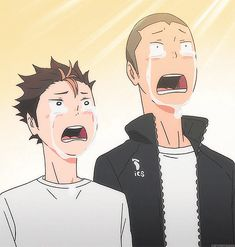 So much for the stoic male mystique | Nishinoya & Tanaka  | Haikyuu!! | Anime | (gif)