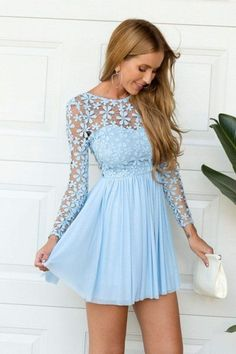 Buy Chicloth A-Line Chiffon Scoop Long Sleeves Short/Mini With Lace Dresses, Prom Dresses Cheap,Homecoming Dresses Cheap Online. Long Sleeve Homecoming Dresses, Cheap Short Prom Dresses, Dresses For Teens, Dresses Online, Chiffon Evening Dresses, Lace Chiffon, Tulle Lace, Dresses Dresses, Evening Gowns