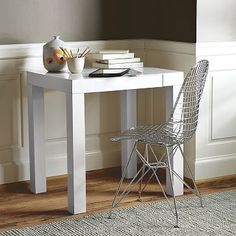 Parsons Mini Desk.  Perfect for the spot next to my bed as a desk.