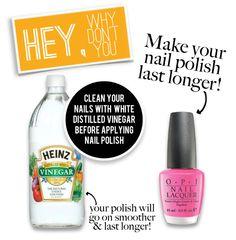 Add vinegar to your nails before polishing to help extend the wear nail polish diy make it last longer tanvii vinegar opi essie solutioingenieria Choice Image