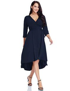 75b4d1835bf Grapent Womens Plus Size Solid V Neck Knee Length Sleeve HighLow Wedding  Guest Salsa True Wrap Dress Surplice Flare Skirt Black Size     You can  find more ...