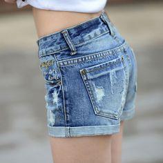 elastic waist hemming short jeans Pocket decorate jeans shorts