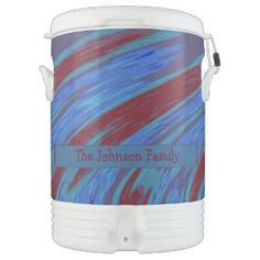 Personalized Beverage Cooler colorful Red Blue design #zazzle #accessories #party