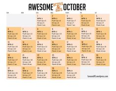 """Abs Awesome Arms and Abs October Workout - should try this this month to start weaning on to resistance training - I've created a workout calendar for October! If you're up for the challenge, try out the """"Awesome Arms Up For The Challenge, 30 Day Challenge, Workout Challenge, Monthly Challenge, Challenge Ideas, Challenge Accepted, 30 Day Fitness, Fitness Tips, Fitness Motivation"""