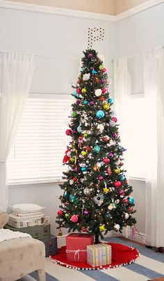 super tall, skinny, charming christmas tree for a bedroom Slim Christmas Tree, Beautiful Christmas Trees, Christmas Time Is Here, Merry Little Christmas, Christmas And New Year, Holiday Crafts, Holiday Fun, Holiday Decor, Holiday Ideas