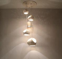CLAY LIGHT CLUSTER:  Five Pendant Chandelier door lightexture