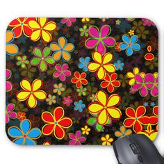 Sixties Hipster Floral Pattern Mouse Pad Custom Office Retirement #office #retirement