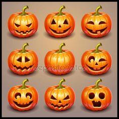Descargar - Set de calabazas de halloween — Ilustración de stock #18467189