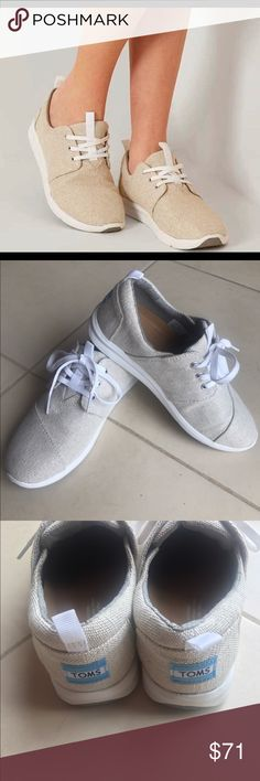 Natural Metallic Tom Sneakers Size 8. Brand New. Still In Box.   Cute Natural/Tan Metallic Tom Sneakers.   Have Just Been Sitting In My Closet, Unworn.   Asking $70 OBO  Retail $80 TOMS Shoes Sneakers