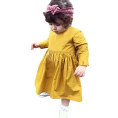67e547c77 Toddler Kid Baby Girl Clothes Princess Party Prom Tutu Dress Long Sleeve  Solid kids Dresses for