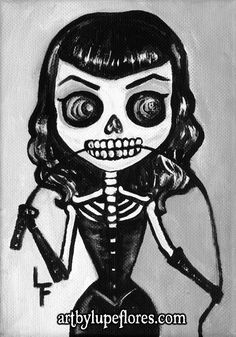 BETTY PAGE day of the dead 5x7 art print by ArtByLupeFlores, $6.99