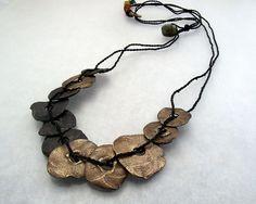 Necklace | KATHY VAN KLEECK.. Steel and Bronze Metal Clay.