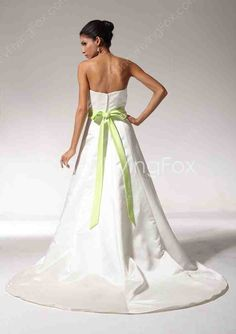 Wedding Dress With Green Sash - Wedding and Bridal Inspiration Wedding Dress Sash, One Shoulder Wedding Dress, Wedding Dresses, Bridal, Green, Inspiration, Fashion, Bride Dresses, Biblical Inspiration