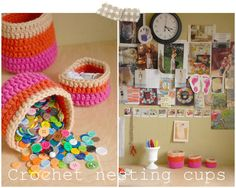 Love these crochet cups...