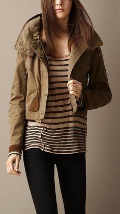 Burberry Dark Camel/Bright Orange Suede Detail Wax Cotton Jacket
