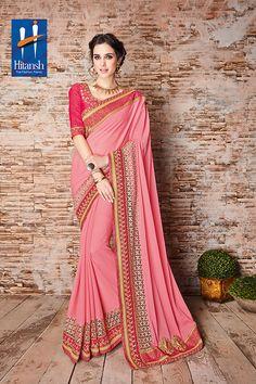 Pink Color Wrinkle Chiffon Fabric Saree