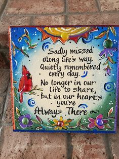Items similar to Sympathy Stone, Stepping Stone, Memory Garden on Etsy Perth, Painting Concrete, Rock Painting, Painting Tricks, Painted Rocks, Hand Painted, Painted Tiles, Pet Memorial Stones, Memorial Ideas