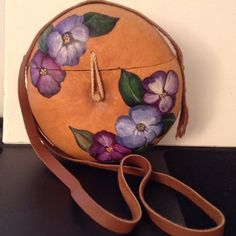 "AUTHENTIC HAND CRAFTED ISLAND BAG NEW! One of a kind souvenirs from the isles this hand crafted/painted gourd is crafted into a beautiful shoulder bag. Lined with coordinating fabrics. Strap measures 27"" length for shoulder or cross body styling... Meas. 10X10"" bag. Bags Shoulder Bags"