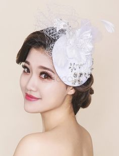 ❀ Beading Bridal Lace Hat With Appliques | Riccol ❤