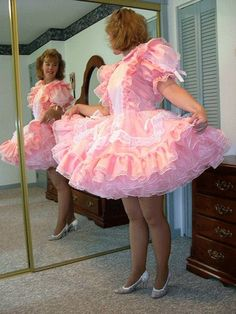 The guys in my square dance club go nuts when I wear a real girly dress. It's a real boost to me ego to have men turned on by me as a woman. Frilly Dresses, Dance Dresses, Pretty Dresses, Maid Outfit, Maid Dress, Girly Girl Outfits, Classic Lingerie, Feminine Dress, Models