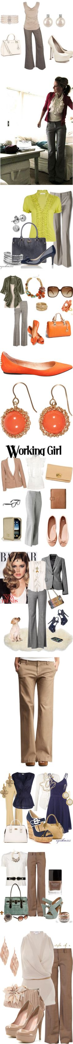 """""""Most of these outfits are perfect ideas for those with a small bust and larger bottom. The embellished and draping tops are good for making the bust look fuller and the slight flare pant helps balance the waist and bottom."""""""