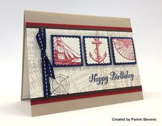 Stampin' Up! Open Sea; A nautical masculine card, perfect for that hard-to-make-for male card!  By Pamm Stevens.