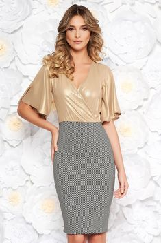 """StarShinerS gold occasional pencil dress from shiny fabric accessorized with tied waistband, accessorized with tied waistband, """"V"""" cleavage, without clothing, bell sleeve, 3/4 sleeves, shiny fabric, side zip fastening"""