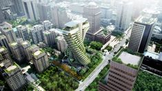 Committed to the effort of lowering energy consumption and carbon emission, Tao Zhu Yin Yuan captured the best qualities of nature with the planting of 23,000 trees and shrubs for carbon dioxide absorption of up to 130 tons a year.    Co-designed by LKP Architecture, Vincent Callebaut, and SED-IA Architecture   #eco #architecture #greenbuilding #sustainabledesign #landscapedesign