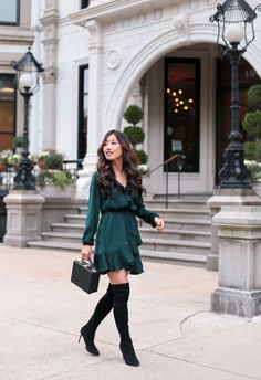 holiday party dress with boots_petite fashion blog