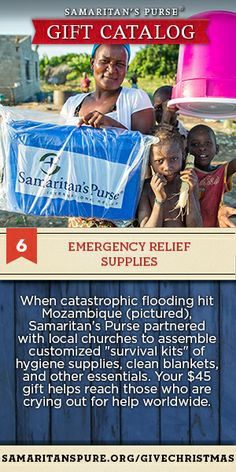 "Follow the Apostle Paul's example to help bring emergency relief supplies to victims of disasters. ""Your Plenty will supply what they need, so that in turn their plenty will supply what you need""(2 Corinthians 8:14)."