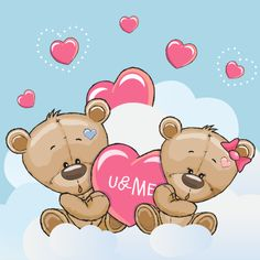 Valentine card with Cute Cartoon Lovers Bears Cute Cartoon Girl, Bear Cartoon, Cute Bear Drawings, Valentines Day Drawing, Card Drawing, Cute Dragons, Cute Teddy Bears, Tatty Teddy, En Stock