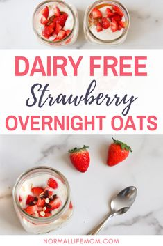 Chocolate Chip Overnight Oats Easy and delicious dairy free strawberry chocolate chip overnight oats. A make ahead breakfast perfect for busy mornings that the whole family will loveEasy and delicious dairy free strawberry chocolate chip overnight o. Healthy Eating Recipes, Healthy Breakfast Recipes, Brunch Recipes, Real Food Recipes, Yummy Food, Breakfast Ideas, School Breakfast, Easy Recipes, Dairy Free Overnight Oats