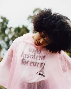 /pinterest @friaaurora Amandla Stenberg wears Amandla wears poncho stylist's own. T-shirt and jeans Courrèges. Nose ring model's own (worn throughout).
