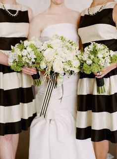 large black & white stripes on bridesmaid dresses and small black and white striped bridal bouquet ribbon