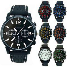 Fashion Casual Mens Silicone Strap Quartz Analog Wrist Watch Sport 7Colors