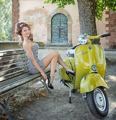 Babe in mini costume and platform heels Moto Vespa, Piaggio Vespa, Lambretta Scooter, Scooter Motorcycle, Vespa Scooters, Motorcycle Outfit, Motorcycle Girls, Vespa Girl, Scooter Girl