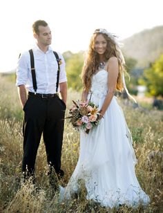 bohemian bride and groom. so beaut