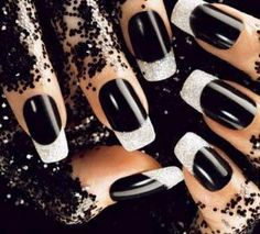 Black and White New years eve nail art...I'm in love